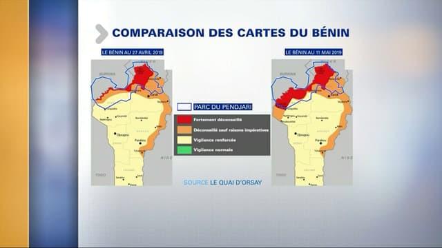 Cartes de vigilance du Bénin établies par le ministère des Affaires étrangères