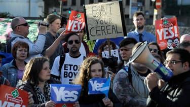 Manifestation pour l'indépendance de l'Ecosse à Glasgow le 28 août 2014.