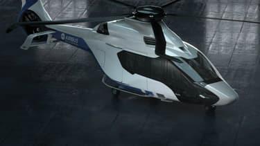 """Un """"masque"""" noir et des pales en forme de boomerang. Le H160 se donne des airs de Supercopter."""