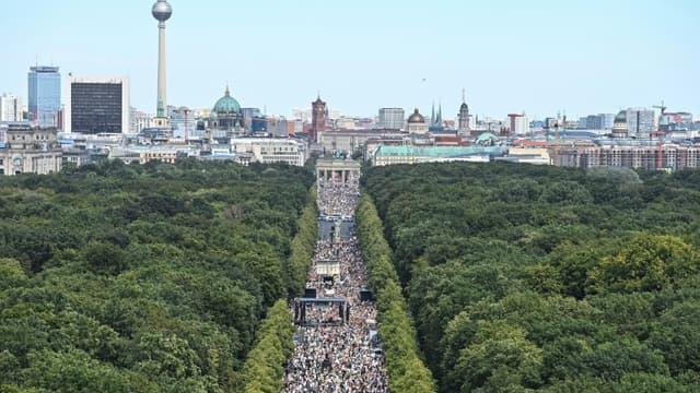 Manifestation contre les mesures destinées à lutter contre le coronavirus, le 1er août 2020 à Berlin.
