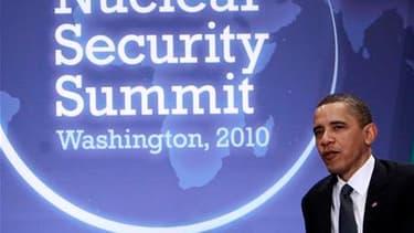 """Le président américain Barack Obama a ouvert lundi à Washington un sommet de deux jours sur la sécurité nucléaire dans le monde pour éviter que des armes atomiques ne se retrouvent un jour entre les mains de groupes terroristes ou d'Etats """"voyous"""". /Photo"""