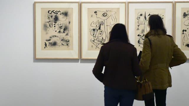 Des toiles de Miró exposées au musée de la Reine Sophie, à Madrid, le 28 avril 2016. (Photo d'illustration)