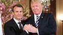Emmanuel Macron et Donald Trump, le 24 avril 2018 à la Maison Blanche pour une conférence de presse