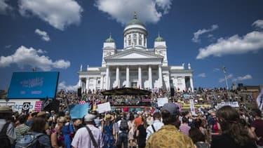 Des manifestants à Helsinki le 15 juillet 2018 en marge du sommet Trump/Poutine