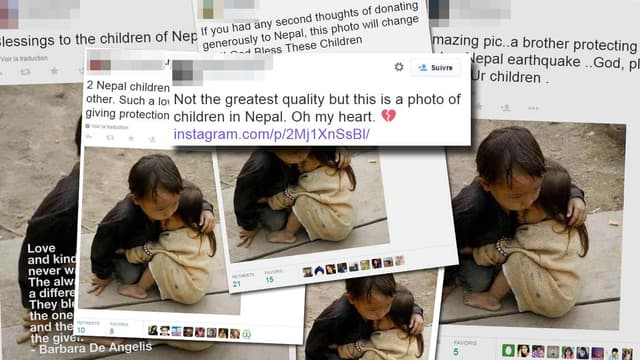 De nombreux internautes relaient cette photo en la présentant comme une image du Népal, ce qu'elle n'est pas.