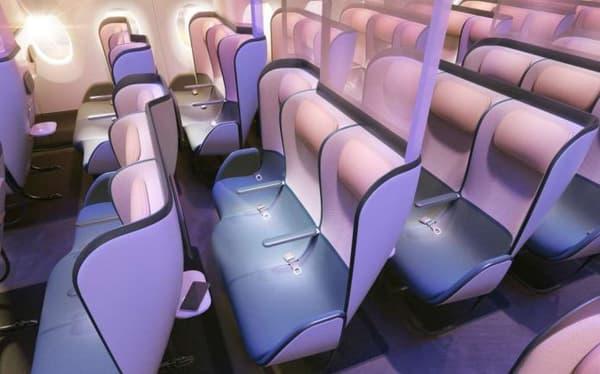 En classe économique, les sièges arborent des parois en plastique de séparation et la configuration des sièges en quinconce maximise la sensation d'espace personnel.
