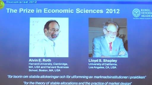 L'Académie royale de Suède a attribué le prix Nobel d'économie aux Américains Alvin Roth et Lloyd Shapley.