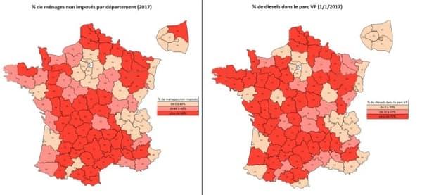 La carte des Français qui ne paient pas d 'impôts sur le revenu et des Français qui roulent en diesel