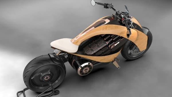 Bois, titane, carbone, Newron propose des matériaux haut de gamme, pour une moto totalement personnalisable.