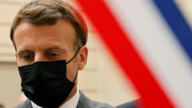 Le président Emmanuel Macron, le 1er mai 2021 à l'Elysée, à Paris
