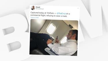 Le sénateur Ted Cruz photographié sans masque dans un avion par un utilisateur de Twitter, en juillet 2020.