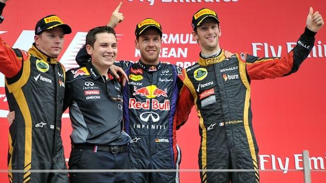 Romain Grosjean sur le podium du Grand Prix de Corée du Sud