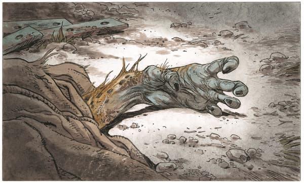 La main décharnée du Marsupilami réaliste de Frank Pé