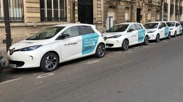 Le service de Moov'in Paris avec des Renault Zoé pouvant être louée avec une tarification à la minute.