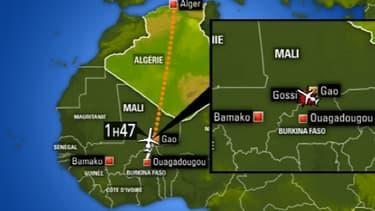 Situation du lieu du crash du vol AH2017 au Mali dans la région de Gossi.