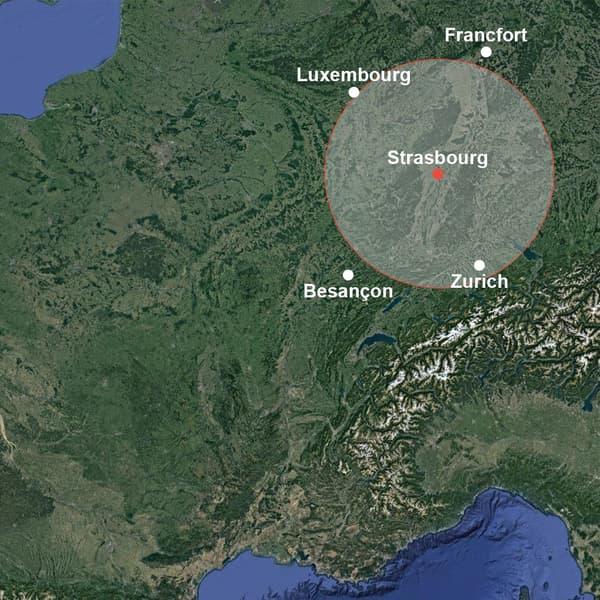 Infographie imaginant les feux australiens s'ils partaient de Strasbourg.
