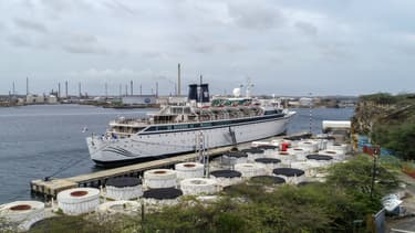 Le Freewinds dans le port de Willemstad, sur l'île de Curaçao, le 5 mai 2019. - Raino Mauricia - AFP