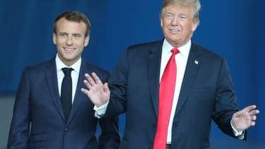 Emmanuel Macron et Donald Trump avant leur entretien le 11 juillet au sommet de l'Otan