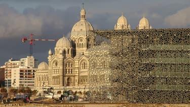 Près de la cathédrale de la Major , le Mucem en mars 2013.