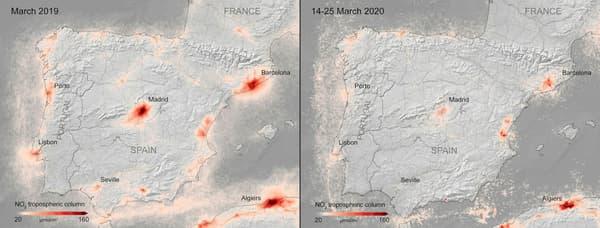 Les niveaux de dioxyde d'azote en Espagne