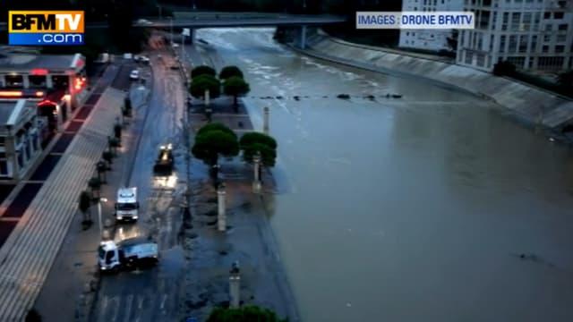 Image filmée mardi matin par le drone de BFMTV au-dessus du Lez, le fleuve qui traverse Montpellier.