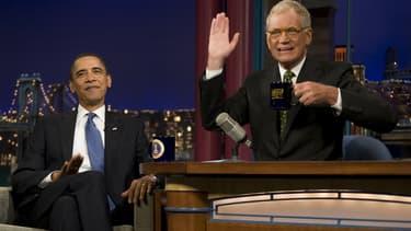 David Letterman et le président américain Barack Obama dans le Late Show sur CBS.