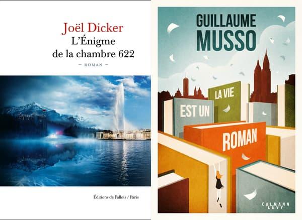 Les couvertures des nouveaux livres de Joël Dicker et Guillaume Musso.