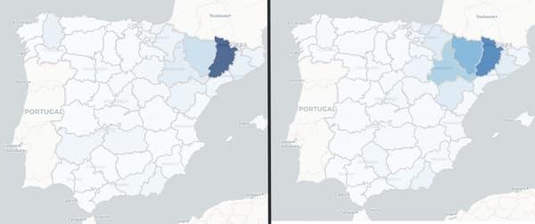 Taux d'incidence du coronavirus en Espagne la semaine du 6 au 12 juillet (à gauche) et la semaine du 13 au 19 juillet (à droite).