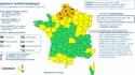 La carte illustrant l'alerte orange émise par Météo France, et concernant sept départements ce jeudi.